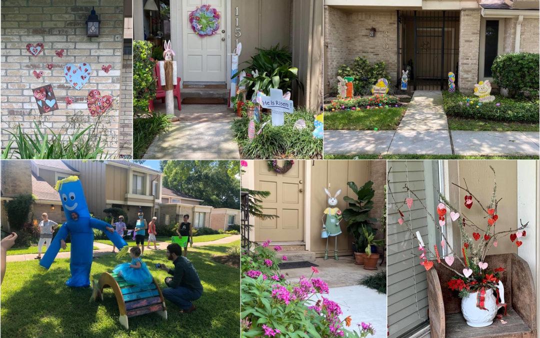 Community activities at Village Place Townhomes, including heart scavenger hunt, Easter decorations, and a birthday parade.