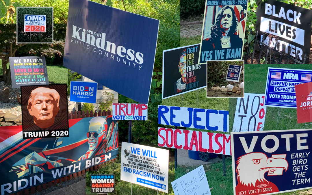 Collage of different signs endorsing candidates or supporting social justice causes